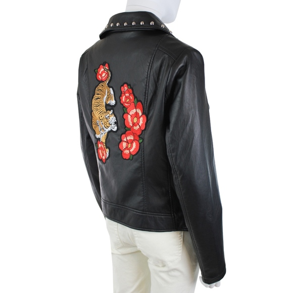 Closet Space Jackets & Blazers - Closet Space Embroidered Black Studded Moto Jacket